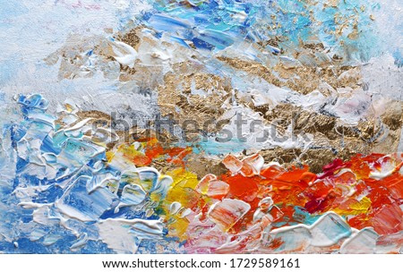Art Abstract acrylic and watercolor smear blot painting. Color horizontal texture background.