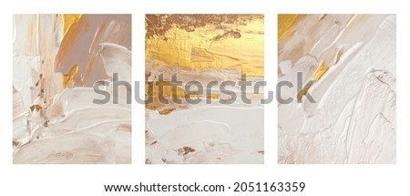 Art acrylic and watercolor smear blot painting. Interior abstract triptych. Beige, brown and gold color canvas texture horizontal background.