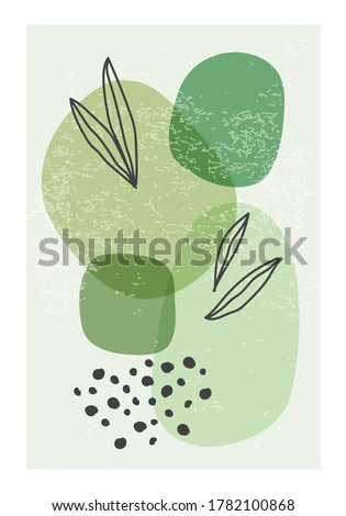 Minimalist poster with abstract organic shapes composition in trendy contemporary collage style, can be used for wall art decoration, postcard, cover design