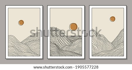 Trendy set of minimalist landscape abstract contemporary collage, mountains lake sunset wall art poster design