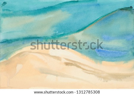 abstract sea and beach. Hand drawn watercolor painting.
