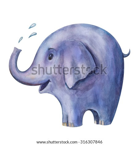 Hand drawing watercolor illustration of blue elephant