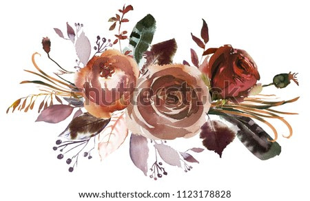 Watercolor Fall Floral Bouquet Roses Peonies Leaves Boho Plum Violet Peach Brown Isolated On White Background