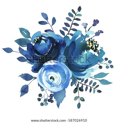 Indigo blue turquoise watercolor hand painted floral bouquet round.