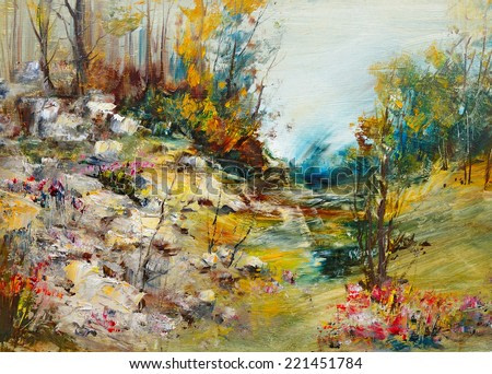 Forest landscape with stones, oil painting