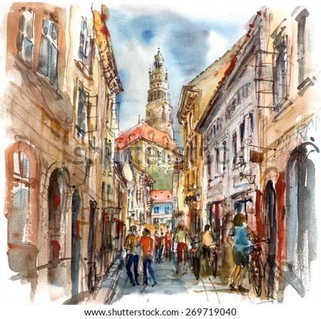 Street in the old town overlooking the castle and tower, watercolor illustration