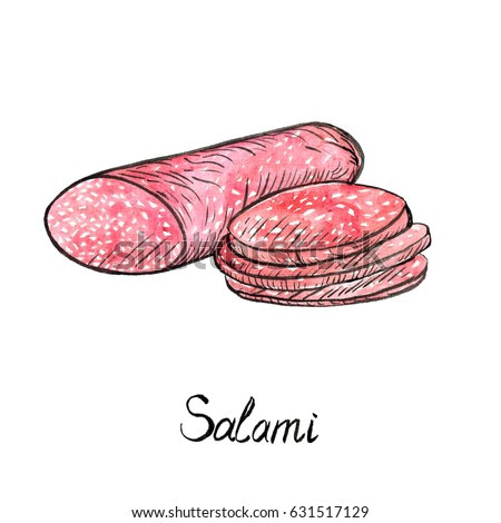 Salami and cut slices, hand painted illustration, watercolor and ink outline