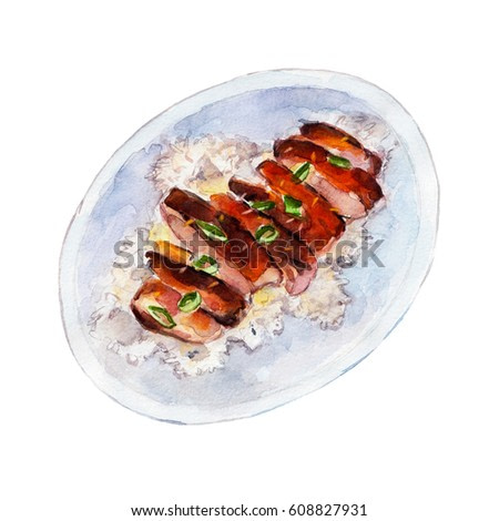 Grilled Chicken teriyaki rice, watercolor illustration isolated on white background.