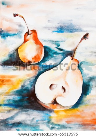 Pair bright yellow pears being in quarrel whole and half drawn by water color colors on a water color paper