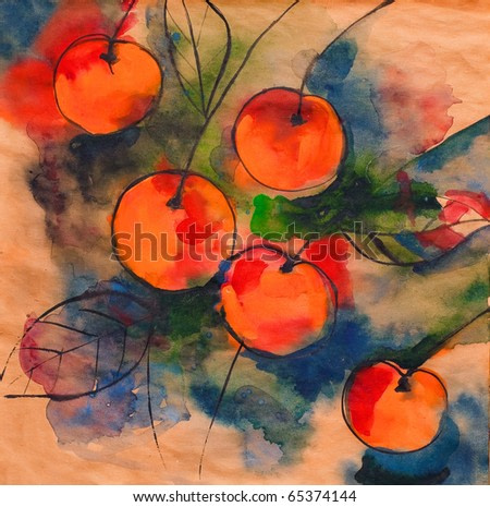 Cherry drawn by water color color on kraft brown paper bright rich colors and a black circuit ink