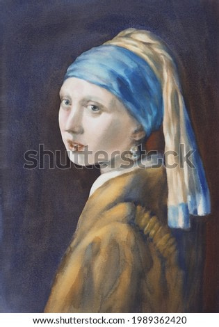 A girl with a pearl earring watercolor copy. Portrait illustration