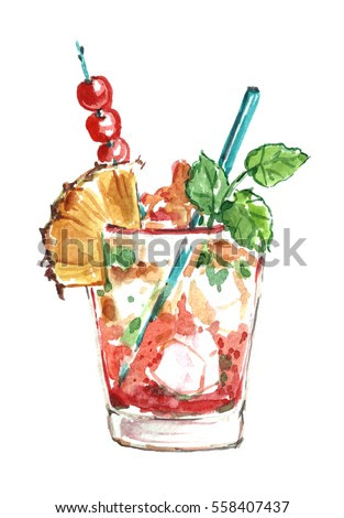 Watercolor alcohol cocktail with pineapple and mint.
