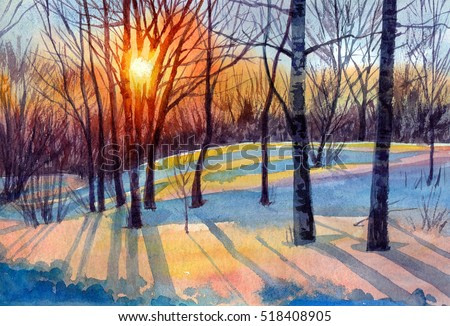 Watercolor painting of winter forest