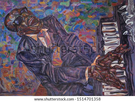 jazzmen RAY CHARLYES , oil painting, artist Roman Nogin, series