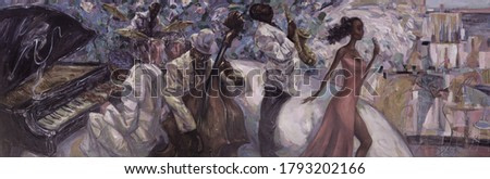 oil painting, jazz, classical blues concert,