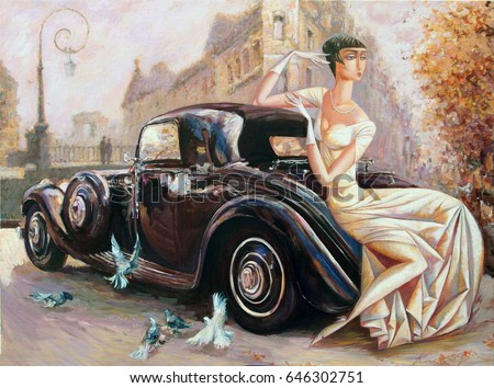 picture, girl, lady with retro car, classic car, evening city,looking for partnerships with artdillers, artist, Roman Nogin ,sale original - contact facebook
