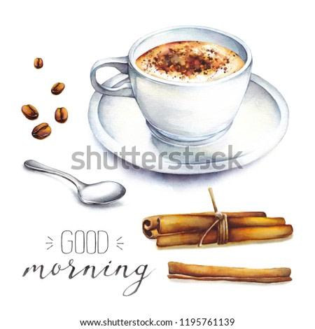 Isolated hand drawn illustration coffee in a white porcelain cup with coffee beans, cinnamon and teaspoon. Watercolor food collection