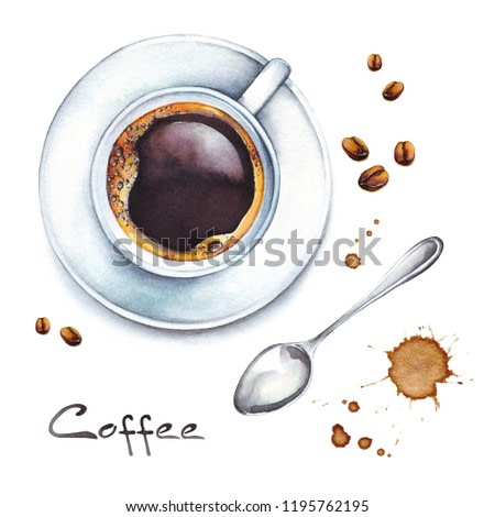 Isolated watercolor illustration coffee in a white porcelain cup with coffee beans and teaspoon from above view