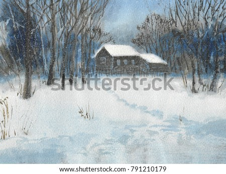 abstract winter landscape The house stands among the trees, ahead of the clearing and it's snowing, hand-painting with watercolor
