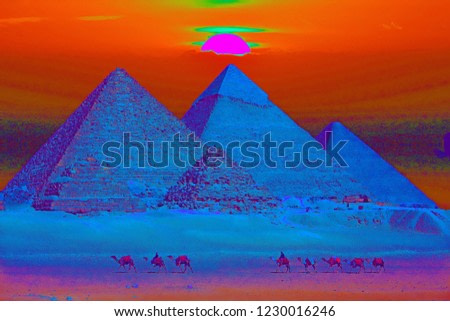 Pyramids of Giza Sunset Illustration with a Maxfield Parrish Painting Filter.