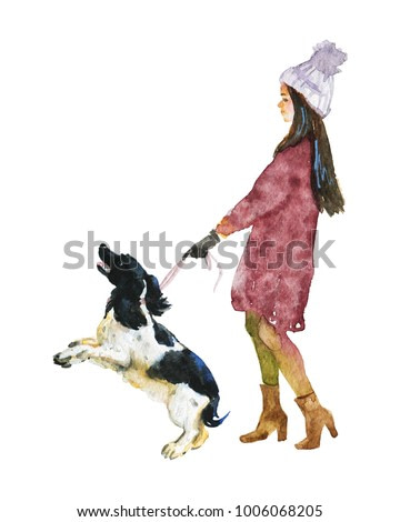 Watercolor beautiful lady with dog. Hand drawn walking woman in warm clothes and border collie. Painting fashion illustration