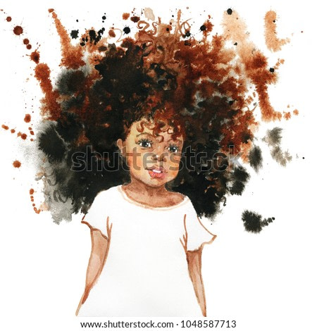 Watercolor portrait of african girl. Hand drawn fashion illustration. Painting baby on white background with splashes
