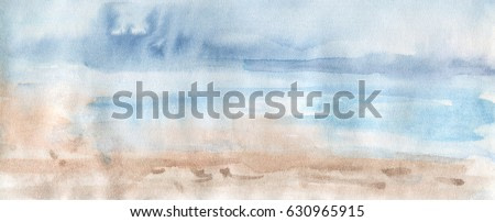 Hand drawn gradient abstract background. Watercolor desert and sky. Painting splash illustration