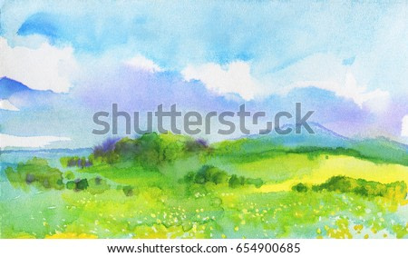 Watercolor landscape with mountains, blue sky, clouds, green glade with dandelion. Hand drawn nature european background. Painting countryside illustration