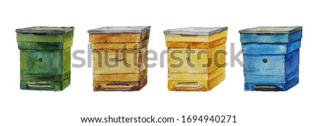 bee hives painting in watercolor