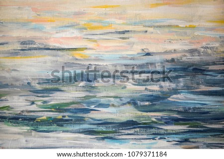 Background of brush strokes with oil paints of a blue shade