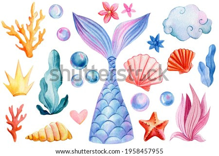 Mermaid tail, seashells, crown, bubbles, coral and pearl on an isolated white background. Watercolor drawing