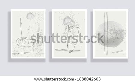 Trendy set of watercolor minimalistic abstract hand painted illustrations. Abstract compositions doodles various shapes. Great for design wall decoration, postcard or brochure cover design. Vector