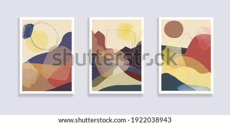 Set of minimalist landscape abstract compositions. Collage organic shapes with geometric nature, sea, sky, sun, mountain landscape. Great for design wall decoration, postcard or brochure cover. Vector