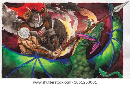 Drawing of an armored knight attacking a dragon with a spear. Watercolor painting.