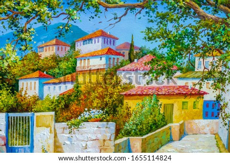 picture, oil painting, scene, piece, view, canvas picturesque courtyard with colorful flowers, patio spain, greece