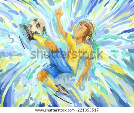 Abstract Soccer Player Painting, Football Brazil Kicking, Oil Painting (Digital Painting)
