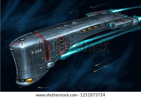 Concept art digital painting or illustration of movie or computer game style of sci-fi or science fiction spaceship in space.
