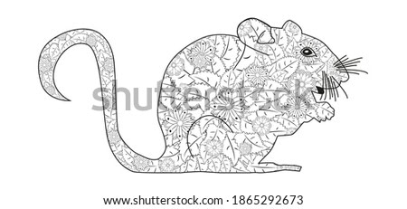 Hand drawn zentangle mouse for coloring book for adult and other decorations