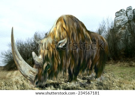 Prehistoric woolly rhinoceros - extinct animals. Watercolor on paper in computer processing.