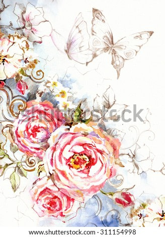 Delicate pink roses on blue background in vintage style - beautiful card with flowers and butterflies. Hand illustration.