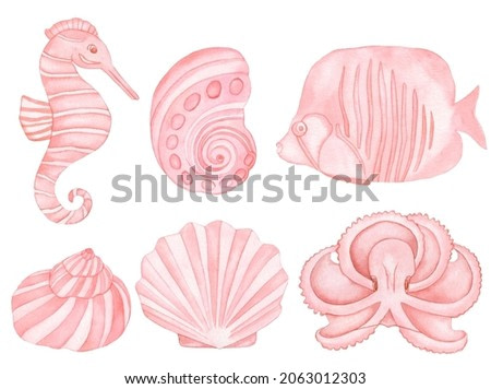 Watercolor Underwater creatures. Pink fish, sea shells, pink octopus and Sea Horse