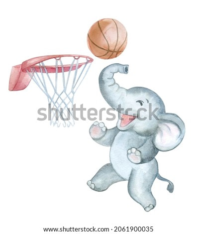 Baby elephant with basketball ball isolated on white background. watercolor. illustration Greeting card design. Clip art.
