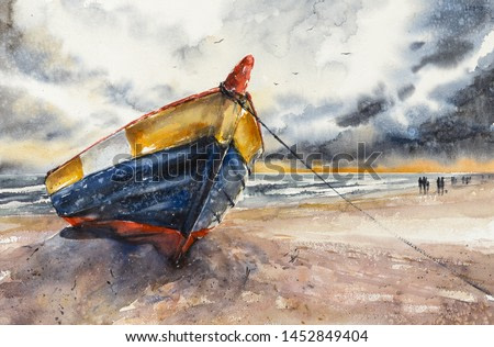 Wooden boat on The Baltic shore Hel Peninsula, Poland. Picture created with watercolors.