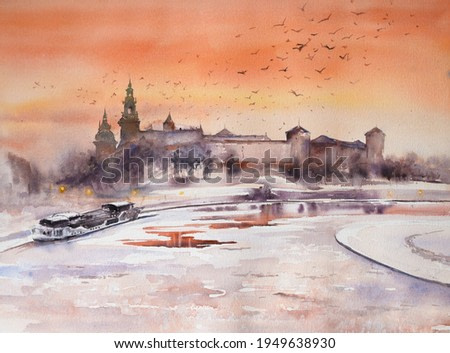 Winter view of Royal castle of the Polish kings on the Wawel hill, over the Vistula river in beautiful sunset light , Krakow, Poland. Watercolor painting.