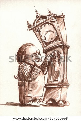 Retro style illustration of Watchmaker examining the old clock.Picture painted with watercolors on paper.
