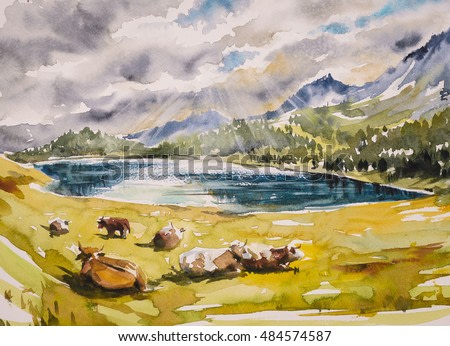 Idyllic alpine landscape: brown cows grazing on a meadow close to the mountains and a lake.Watercolors illustration.