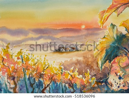 Watercolor painted illustration of Styrian Tuscany Vineyard at sunset,Austria