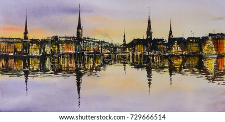 Panoramic painting of Hamburg cityscape at night.Picture created with watercolors.