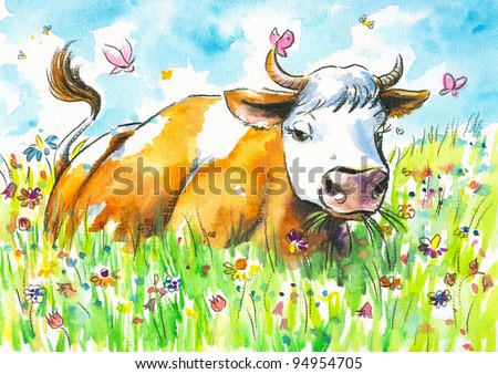 Cow on a field watercolor painted.