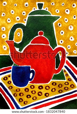 Still life illustration of drinking vessels. Hand drawn watercolr painting. Vertical picture for kitchen, cafe or restaurant interior